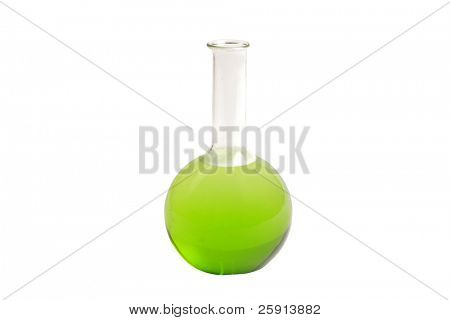 a glass chemistry beaker filled with green liquid isolated on white