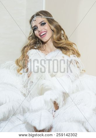 Woman With Fashionable Look Full Of Glamour. Glamour Girl With Curly Hairstyle. Dress That Makes You