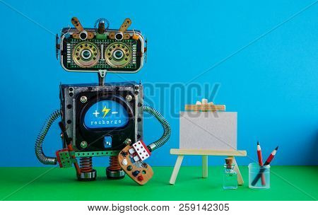 Advertising Poster Studio School Of Visual Arts And Drawing. Robot Artist With Brush Paints Palette,