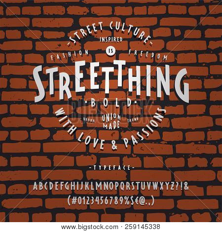 Font Streetthing Bold. Craft Retro Vintage Typeface Design. Fashion Type. Sans Serif.  Pop Modern Di