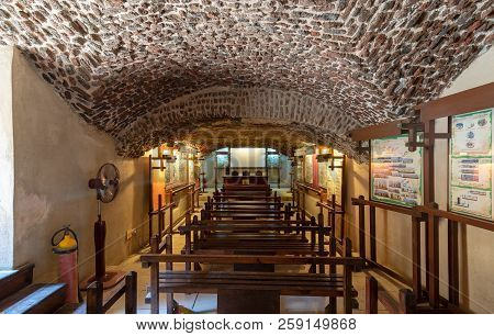 Cairo, Egypt - September 15 2018: Hall At The Basement Of The House Of Egyptian Architecture Histori