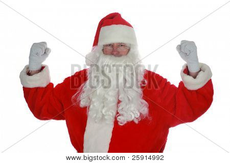 Santas been working out in the Gym isolated on white with room for your text