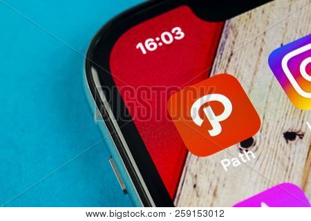 Sankt-petersburg, Russia, September 19, 2018: Path Application Icon On Apple Iphone X Smartphone Scr