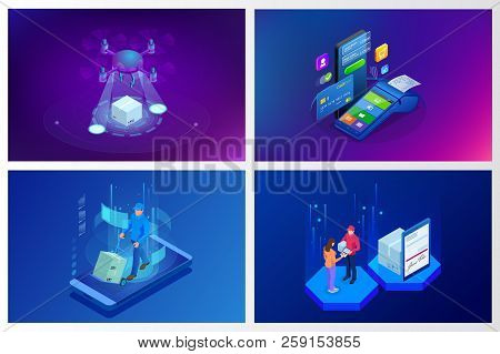 Isometric Drone Fast Delivery Of Goods In The City. Technological Shipment Innovation Concept. Auton