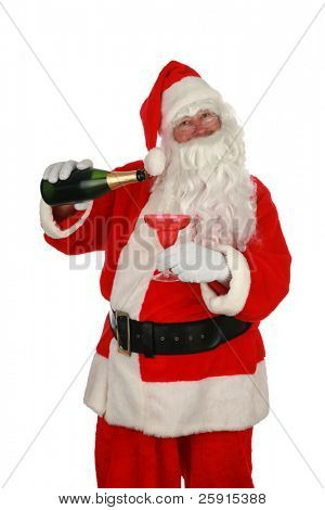 Santa Claus holds a bottle of champagne isolated on white room for your text