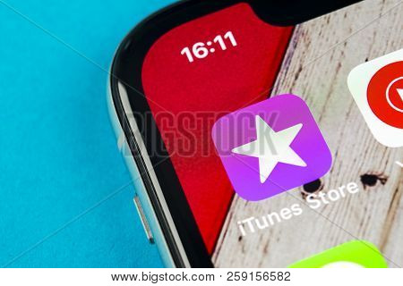Sankt-petersburg, Russia, September 19, 2018: Apple Itunes Store Application Icon On Apple Iphone X