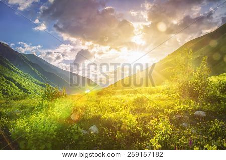 Sunny Mountains Landscape. Mountain Range And Yellow Sunlight On Grassy Hills. Amazing Sunset In Hig