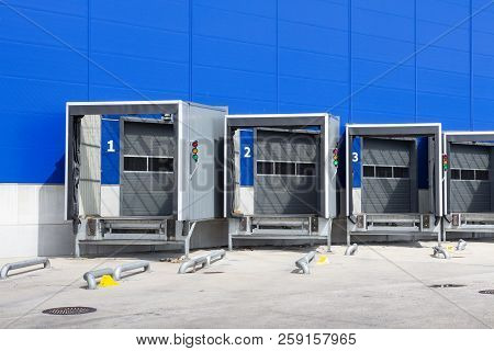 Modern Logistics Center. Loading Dock At A Warehouse. Docking Stations Of A Distribution Center.