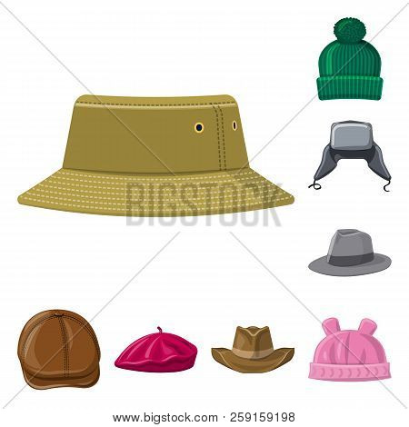 Vector Illustration Of Headgear And Cap Sign. Collection Of Headgear And Accessory Stock Symbol For