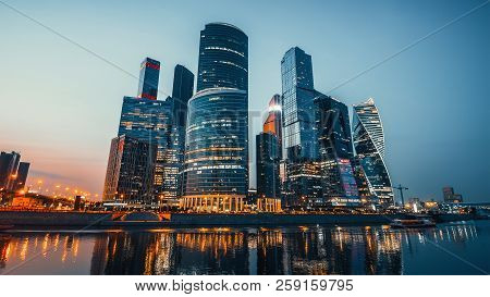 Panoramic View Of Moscow City And Moskva River After Sunset. New Modern Futuristic Skyscrapers Of Mo