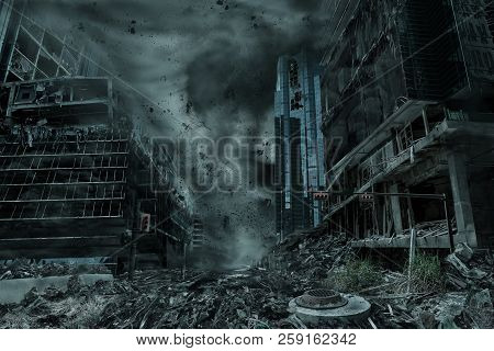 A Cinematic Portrayal Of A City Destroyed By A Typhoon, Hurricane Or Tornado Twister. Concept Of Nat