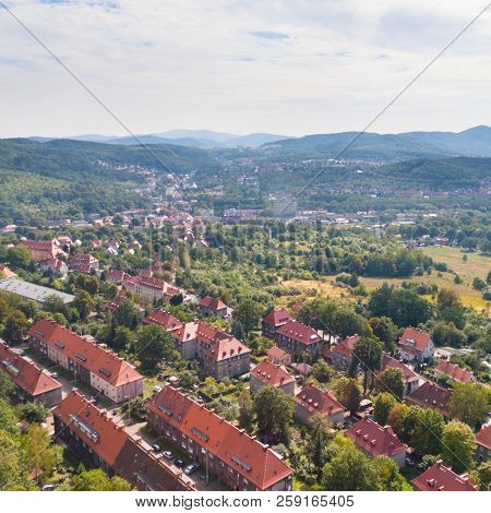 Old European Town And Green Hills Drone View From Above