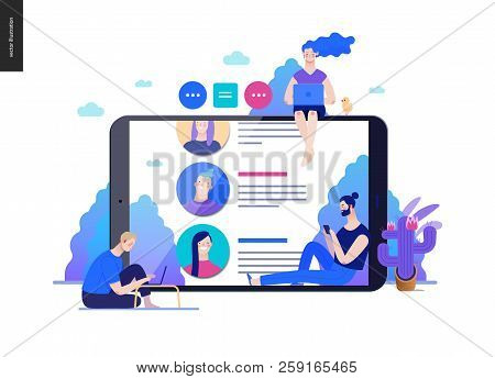 Business Series, Color 2 - Reviews -modern Flat Vector Illustration Concept Of People Writing Review