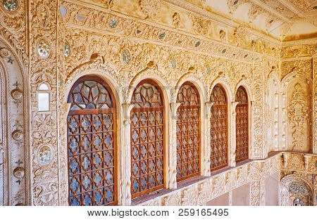 Kashan, Iran - October 22, 2017: The Wall Of The Terrace Of Tabatabaei House With Intricate Plasterw