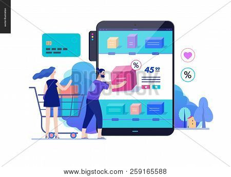 Business Series, Color 2 - Buy Online Shop - Modern Flat Vector Illustration Concept Of Man And Woma