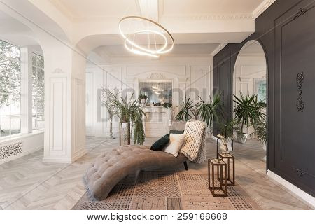 Interior In Hotel. Daylight In The Interior And Light Of Electric Lamps. Luxury Living Room With Par