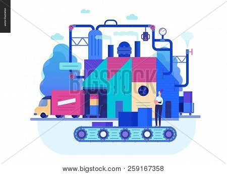 Business Series, Color 2 - Factory Production -modern Flat Vector Illustration Concept Of Industrial