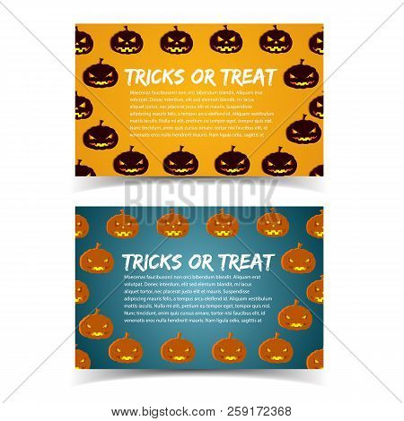 Tricks Or Treat Colorful Horizontal Banners With Place For Text Information And Cartoon Decorative S