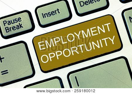 Conceptual Hand Writing Showing Employment Opportunity. Business Photo Showcasing No Discrimination