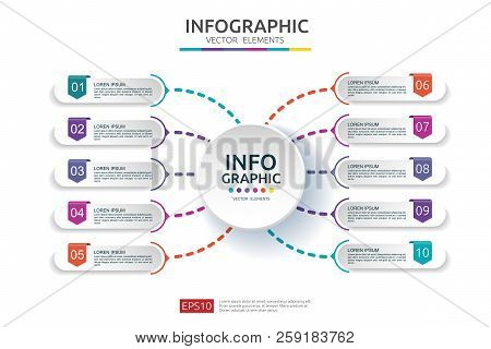 10 Steps Infographic. Timeline Design Template With 3d Paper Label. Business Concept With Options. F