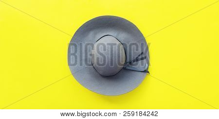 One Elegant Felt Grey Woman's Hat Top View Yellow