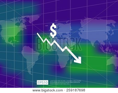 Dollar Money Fall Down Symbol With World Map And Blur Background. Arrow Decrease Economy Stretching
