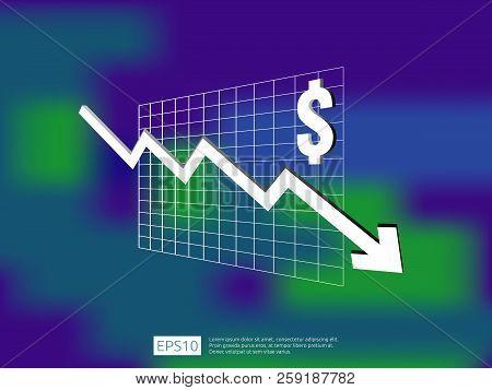 Dollar Money Fall Down Symbol With Blur Background. Arrow Decrease Economy Stretching Rising Drop. B