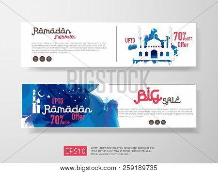Ramadan Sale Offer Banner Set Design. Promotion Poster, Voucher, Discount, Label, Greeting Card Of R