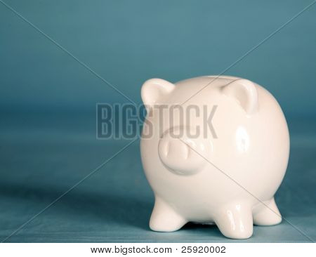 a white piggy bank
