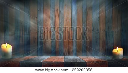 Misty Happy Halloween room. Night wooden table and wall background