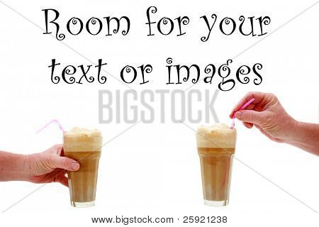 two human hands hold root beer floats isolated on white with room for your text or images