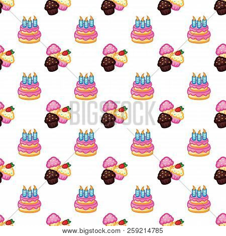 Birthday Pattern. Birthday Cake With Candles For Celebration Party, Cake, Confectionery Cupcakes. Ev