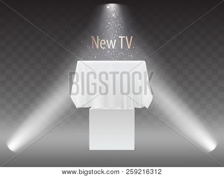 Vector New Tv Concept, Exhibition With Screen In Lights Of Projectors. Mock Up Of Plasma Television,