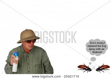 Funny image of two cockroaches talking while a man sprays them with bug spray isolated on white