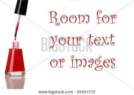 Red fingernail polish isolated on white with room for your text or images