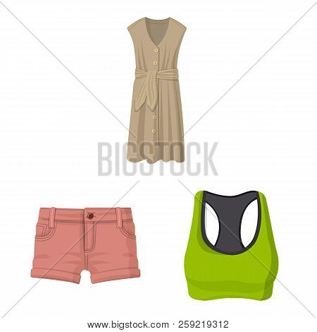 Isolated Object Of Woman And Clothing Logo. Collection Of Woman And Wear Stock Vector Illustration.