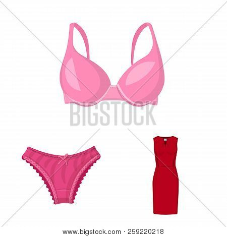 Vector Design Of Woman And Clothing Sign. Set Of Woman And Wear Stock Vector Illustration.