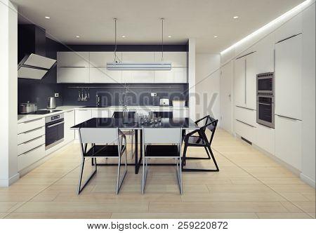 modern black&white kitchen interior. 3d rendering design concept