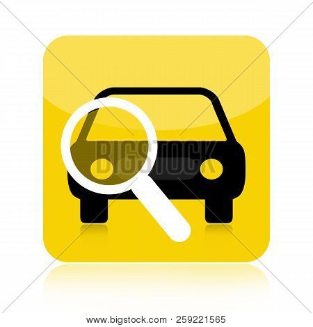 Car And Magnifying Glass Icon, Auto Diagnostic, Finding A New Car, Car For Rent
