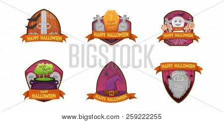 Set Of Cartoon Style Happy Halloween Labels And Budges.with Pumpkin Heads. Old Scary  Medieval Doors