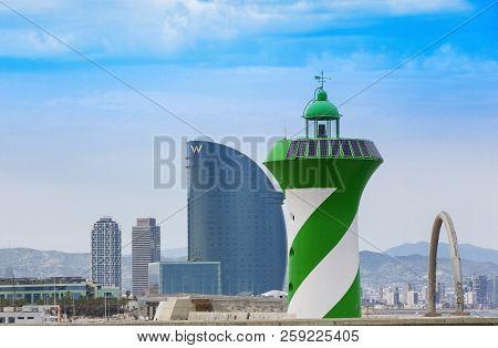 Barcelona, Spain - June 17, 2018: Hotel W, Designed By Architect Ricardo Bofill, Barcelona Port And