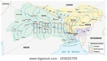 vector Map of the combined catchment areas of the Ganges, Brahmaputra and Meghna rivers. poster