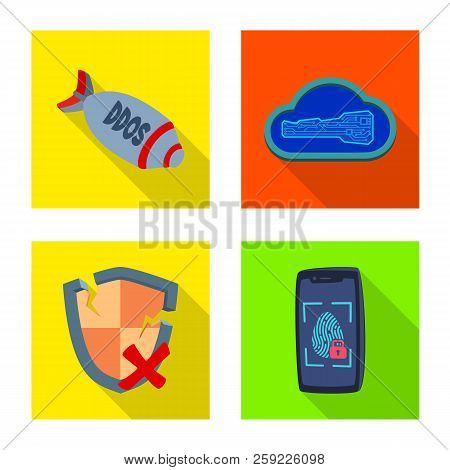 Vector Design Of Virus And Secure Sign. Set Of Virus And Cyber Vector Icon For Stock.
