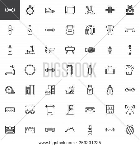 Gym Equipment Outline Icons Set. Linear Style Symbols Collection, Line Signs Pack. Vector Graphics.