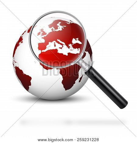 Globe With Magnifying Glass And Red Continents - Europe In Focus - Symbolic Europe In Financial And