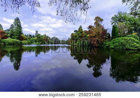 English Autumn With Lake And Trees In Uckfield, East Sussex, United Kingdom