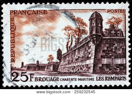 Luga, Russia - September 12, 2018: A Stamp Printed By France Shows Old Fortifications In Brouage In