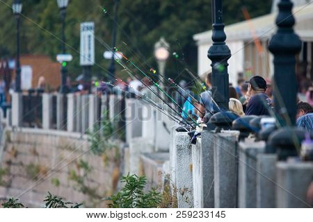 Russia, Rostov-on-don, September 09, 2018: Fishers On Embankment Of Right Side On River Don.