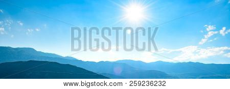 Wide Panorama of Mountains under Bright Sun in the Morning Time. Beautiful Sunrise in the Montenegro, Europe