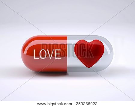 Red Pill With Written Love And Heart Inside It, 3d Illustration